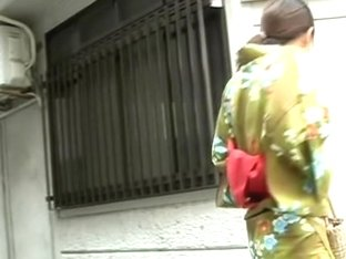 Hot milf in traditional Japanese clothes got boob sharked