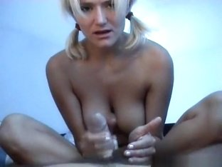 Cute pigtailed girl on vacation on a camping gives her bf a foot- and handjob in the tent