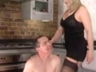 Femdom Corselette and Nylons Female-Dominant Spanks in the Kitchen