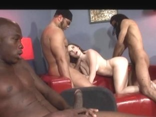 Brunette Hair sucks 4 darksome knobs and receives double penetration drilled and creamed
