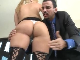 Voodoo drills a cute busty blonde and cum on her face