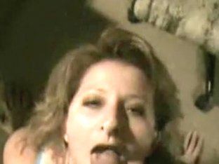 Blonde wench gets on her knees for a load of cum facial