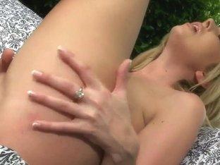 Top heavy hot blonde Lexi Lowe masturbates outdoor