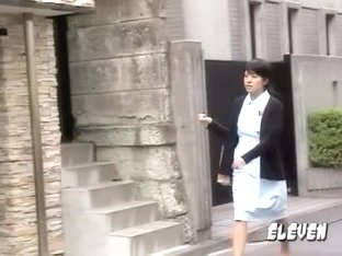 Asian nurse got her skirt sharked while going back home