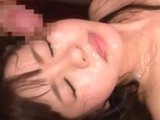 Arousing Asian babe Mei in a hot bukkake wild gang