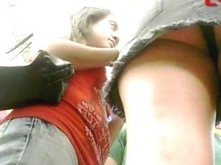 An upskirt view of a mesmerizing ass caught on cam