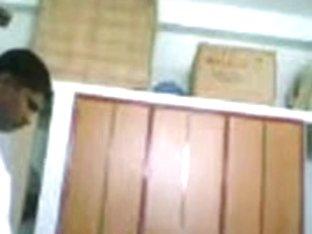 Dark-skinned girl gave a blowjob unwillingly on the hidden cam
