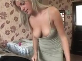 Amy's boobs pop out while doing laundry