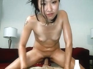 My asian cunt receives a dildo in it