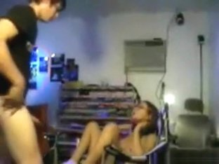 Petite nerdy girl fucks her bf in various positions on a chair