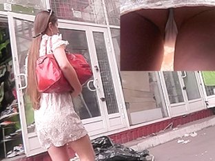 Accidental upskirt action featuring a slim female