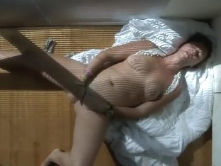 Mom tried to hide while masturbating