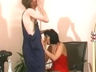 Skinny mature is bent over the chair and ravaged hard