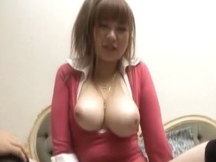 Myuu Hasegawa horny Asian model in red exposes big tits