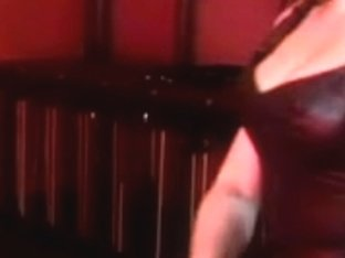 Leather wearing mistresse spanks boyz wazoo