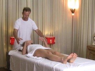 Love Creampie Horny girl enjoys oily massage