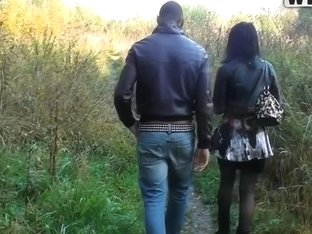 Cute chick is talked into having sexy outdoor fuck