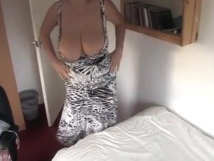 My big breasted wifey is making bed with boobs-out