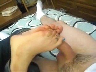 Tender smooth foot soles of my white girlfriend pleasing me
