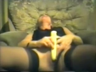 Aged golden-haired neighbor likes fucking and dildoing herself