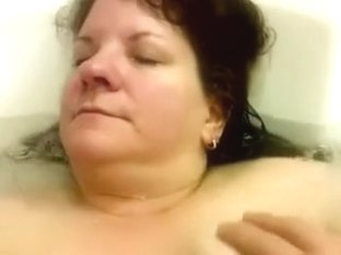 Playing with big milk cans of my naughty large alluring woman aged wife in jacuzzi
