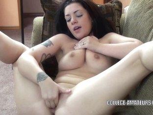 Brunette Hair coed Melina Mason finger bangs her taut snatch