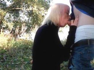 Slutty blonde sucks her boyfriends hard dick.
