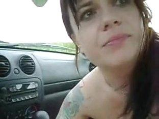 Girlfriend sucks his strapon in the car