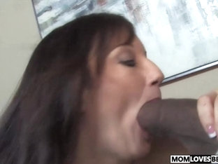 Busty mom Stephanie Wylde takes two BBC in front of her son