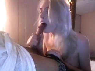 Blonde slut eating my cum