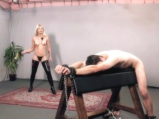 Hard cruel punishment on whipping bench by very hot skinny mistress
