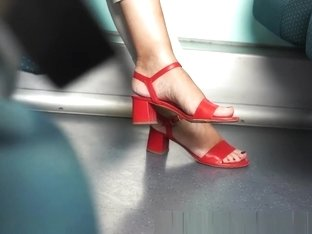 Candid red sandals heels