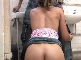 Lustful Claudia has a hung guy punishing her needy holes in the toilet