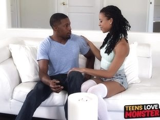 Ebony teen Kira Noir riding monster BBC hard and fast
