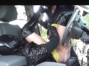 rubber doll in hose and boots drilled outside