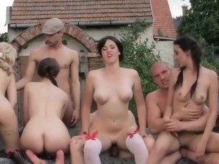Outdoor Orgy With Four Horny Girls