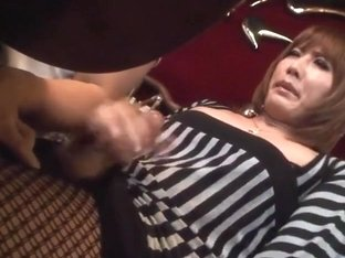 Asian ladyboy cumming in public at cafe