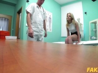 Lady Blond In Routine tests end with hot wet sex