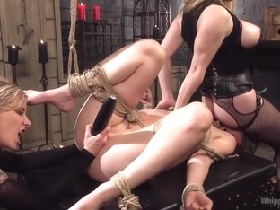 Maitresse Madeline and Aiden Starr haze, domme and fuck Mona Wales!