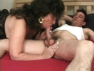 Older lady Ginni Lewis has a face covered in sperm after a rough fuck
