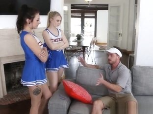 Cheerleader Teens Visit The Coach At Home To Change His Mind