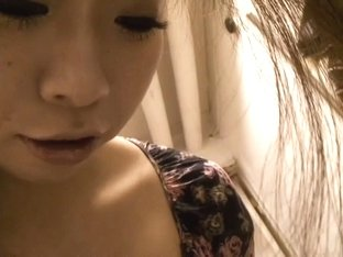 Buxom Asian cutie lets a downblouse voyeur size her up