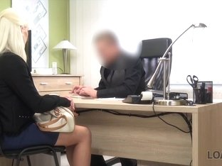 LOAN4K. Nice model in lingerie accepts sex for cash in loan office