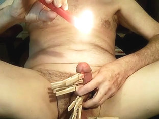 Jerry perv wax on balls . nipples clamps .love ruin and fuck my balls