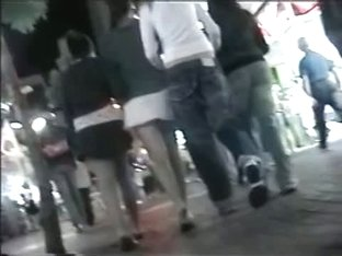 Hot voyeur up skirt action on the streets of Austria