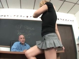 Alluring blonde schoolgirl invites her teacher to fuck her aching slit