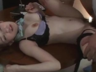 Naughty stewardess uses her rubber dildo