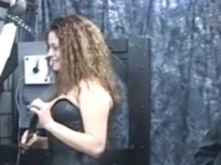 Sex serf acquires fastened by leather cuffs and goddess gives teat castigation