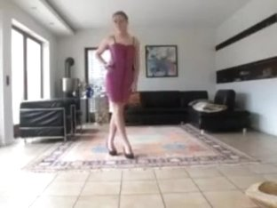 college girl sissy in a pink cocktail dress