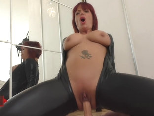 German redhead jolynejoy played so amatory in a catsuit